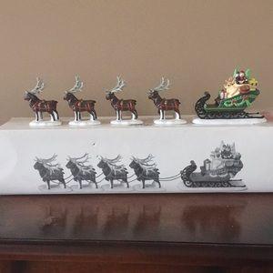 NIB Dept 56 Sleigh & 8 tiny reindeer